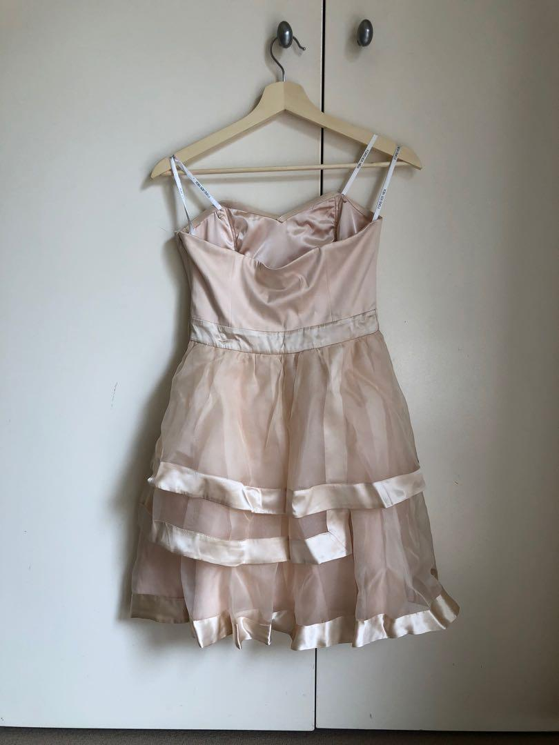 Forever New strapless light pink/peach silky cocktail dress