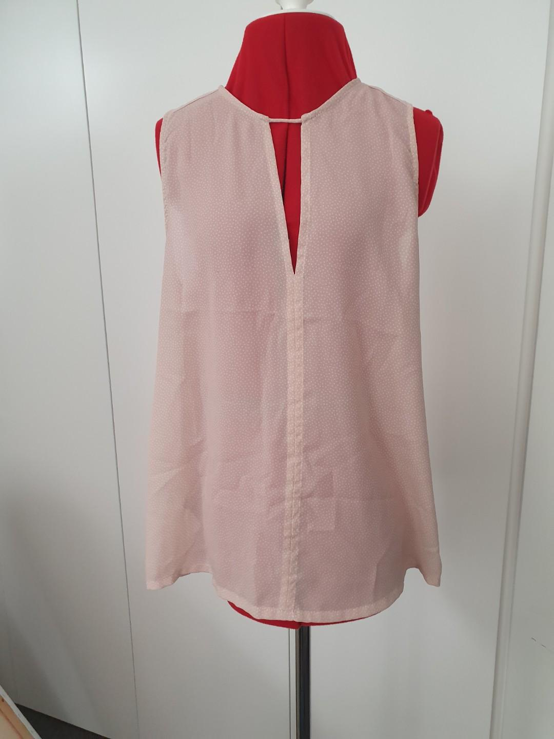 Mng collection - key hole pale pink sleeveless top - eur s #swapau