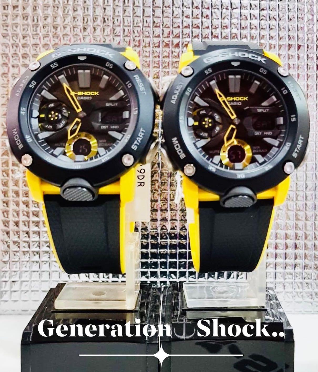 NEW🌟COUPLE💝SET : GSHOCK UNISEX DIVER SPORTS WATCH : 100% ORIGINAL AUTHENTIC CASIO G-SHOCK : GA-2000-1A9DR / GA-2000-1A9 / GA2000-1A9 / GA-2000S-1A (BUMBLEBEE🐝THEME)
