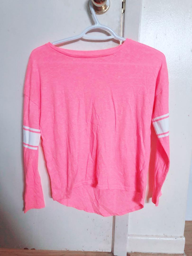 (REDUCED) Old Navy Cute Pink Varsity Long Sleeve Top