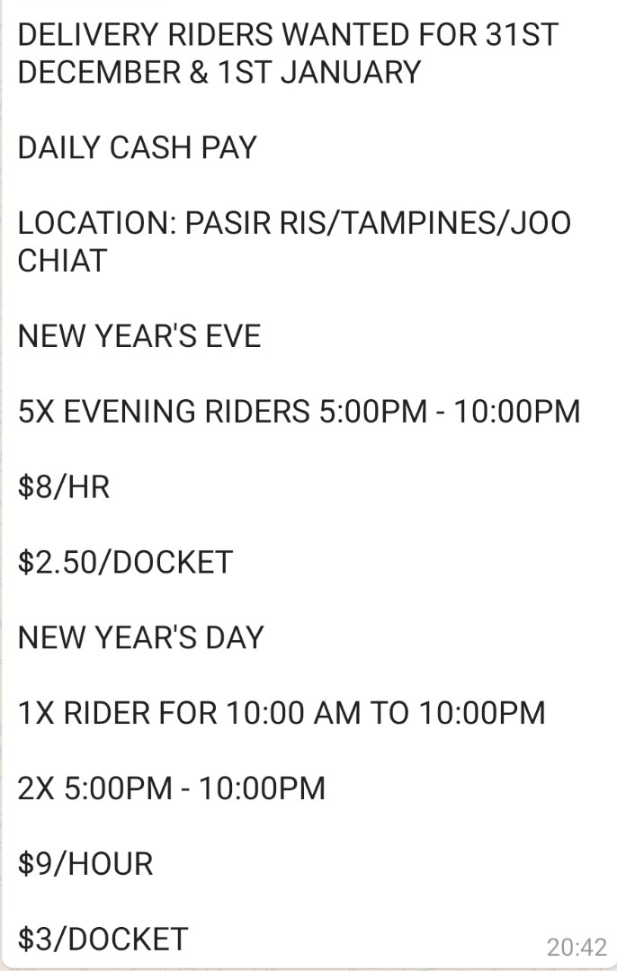 Riders needed for nye and new year. Cash pay