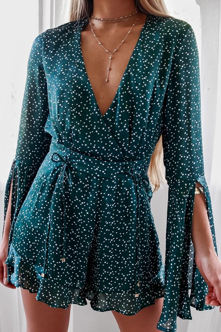 RUNAWAY THE LABEL EMERALD YOU'RE A GEM PLAYSUIT - XS