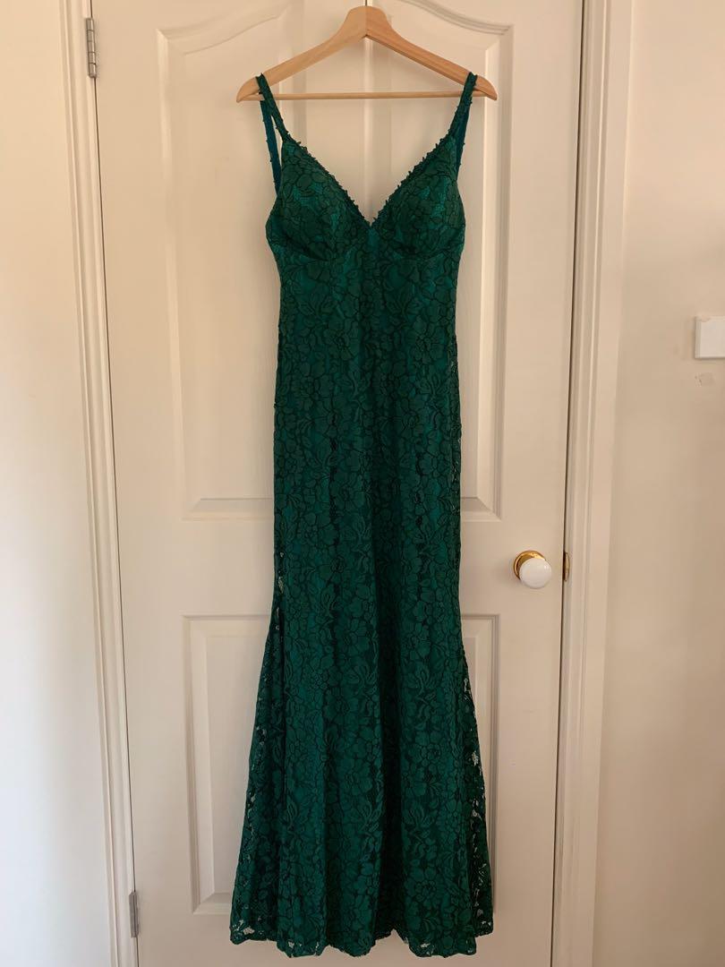 Sea Green Mermaid Open Back Floor Length Formal Dress
