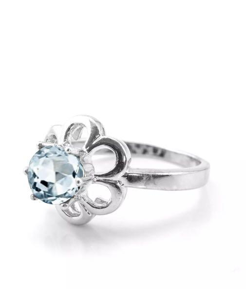Silver 925 and natural Aquamarine ring size 7 or 56
