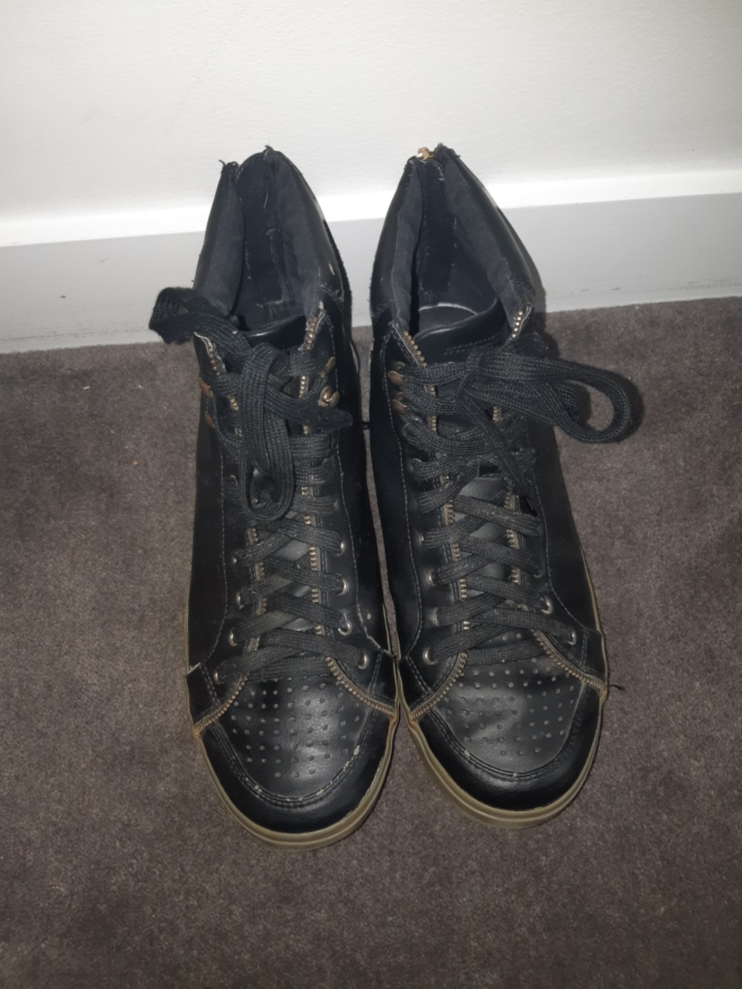 Size 10 Sportsgirl black and gold PU Leather Hightops with synthetic sole