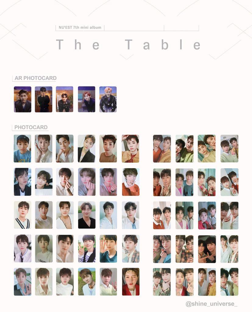 WTS/PREORDER GO NUEST NU'EST THE TABLE OFFICIAL PHOTOCARD