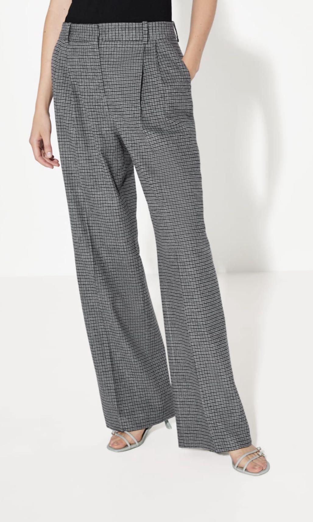 Zara Checked Wide Leg Trouser. Size 6. Worn Twice.