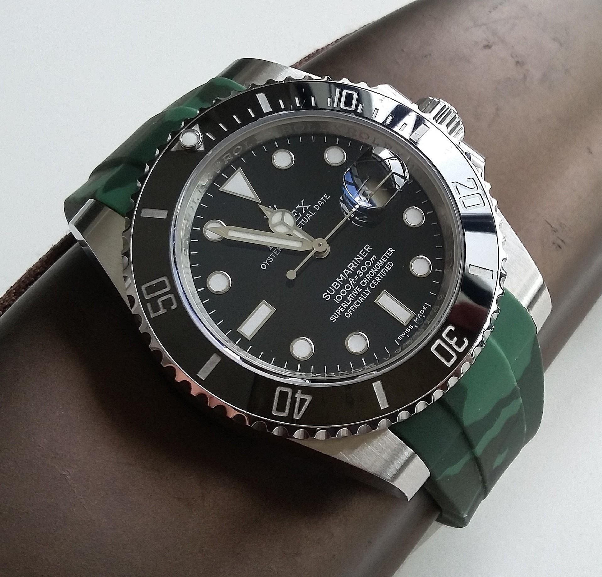 20mm JUNGLE GREEN CAMOUFLAGE RUBBER STRAP WITH STEEL CLASP FOR ROLEX (PRICE INCLUDES FITMENT)