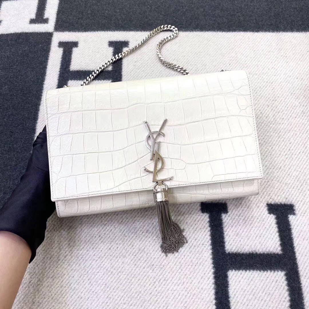Authentic Pre-loved YSL Saint Laurent Kate Medium Croc Embossed Leather Bag White