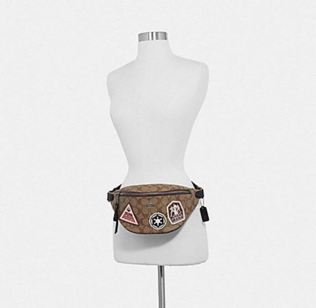 Authentic  star wars x coach belt Bag in signature canvas with patches