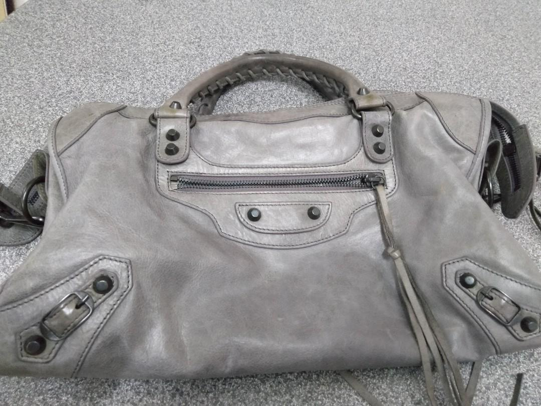 Balenciaga, Limited Edition motorcycle city Lilac Gray Lizard Embossed lambskin Leather shoulder bag