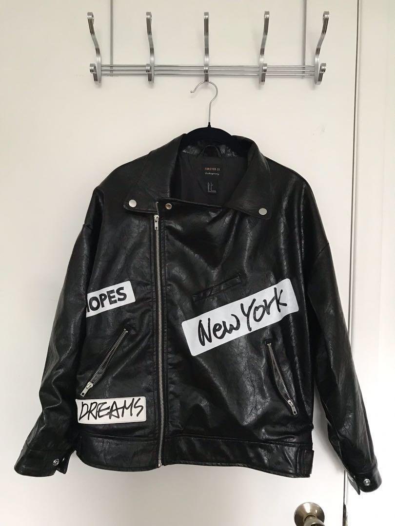 Forever 21 Contemporary Graphic Faux Leather Moto Jacket