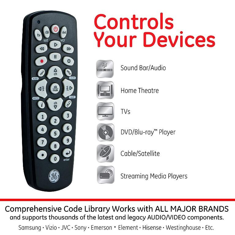GE 3-Device Universal Remote Control for Smart TV, Streaming Players, Blu-ray, DVD