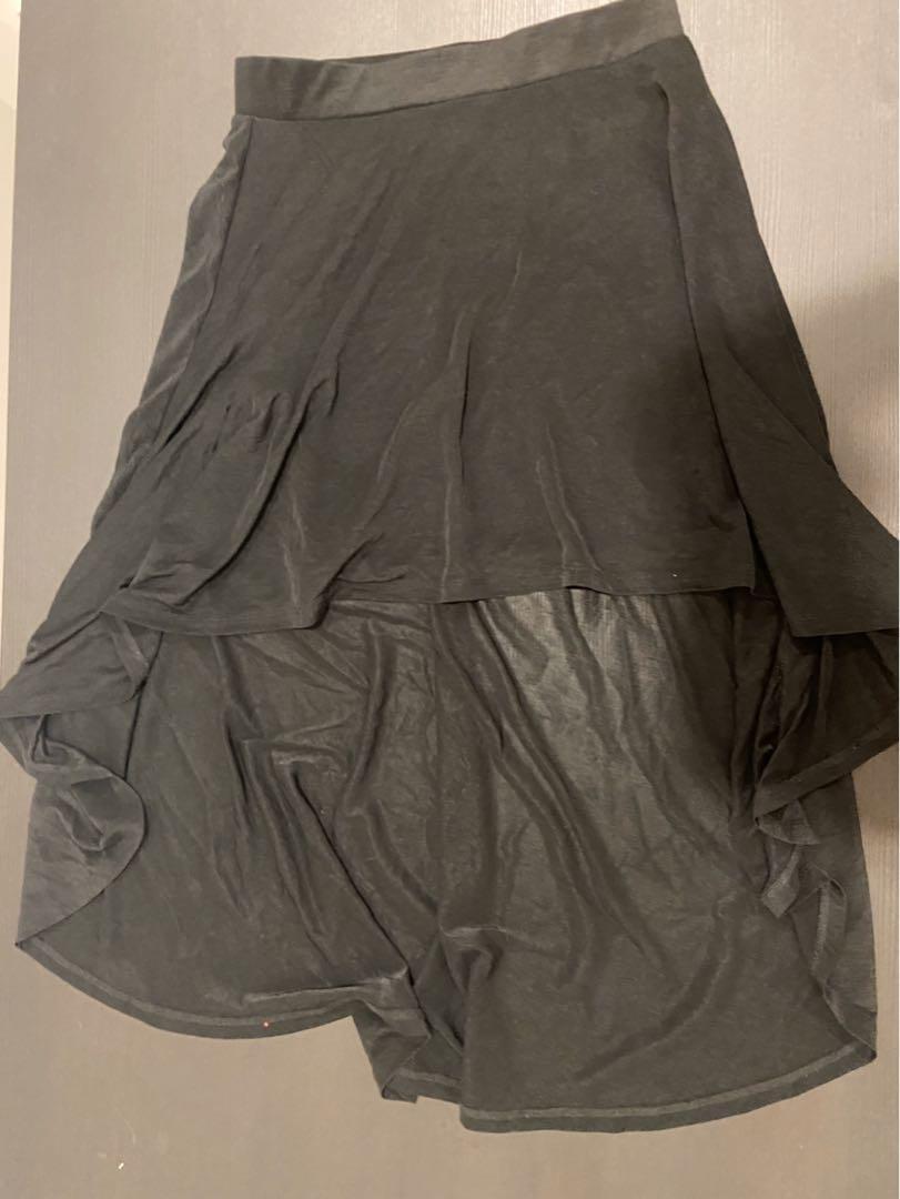 H&M Divided Womens Black Semi Sheer High Low Skirt Size 6