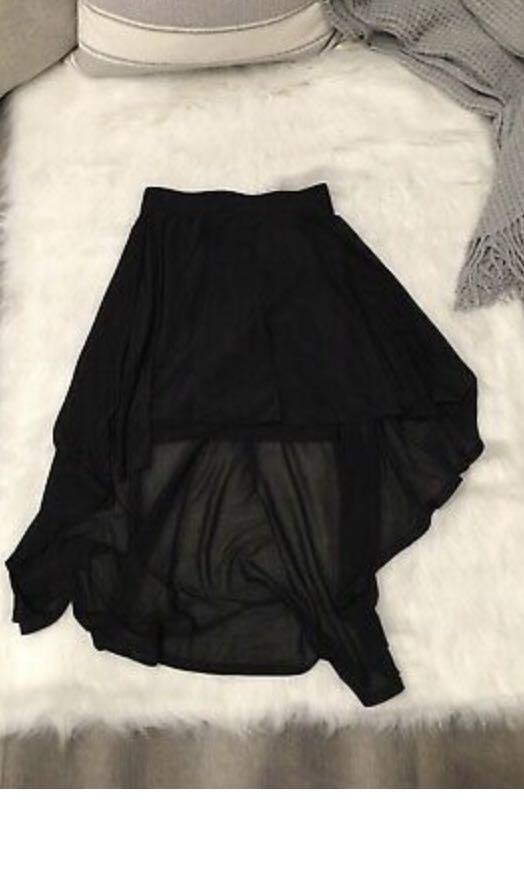 H&M Divided Womens Black Semi Sheer High Low Skirt Size 6