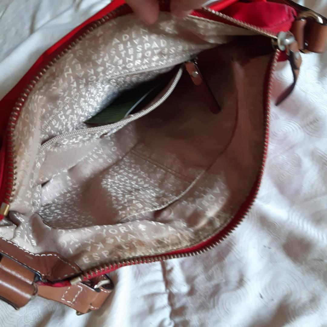 Kate Spade Victoria cambridge stripe Red pink nylon crossbody slingbag ORIGINAL FROM STORE (preloved CLEAN)