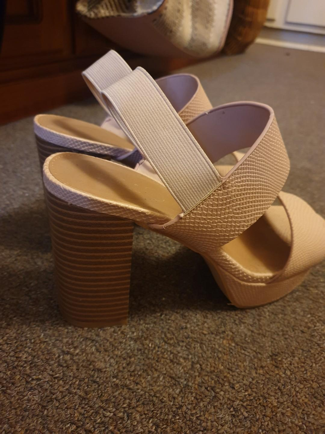 Rubi Nude Faux Snake Skin High Block Heels Size 37 Great Condition