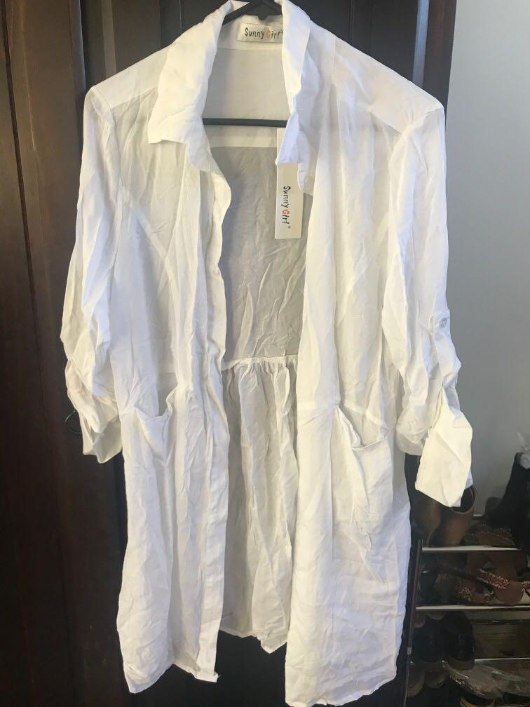 Sunny girl White Throwover/ Oversized Shirt / Dress