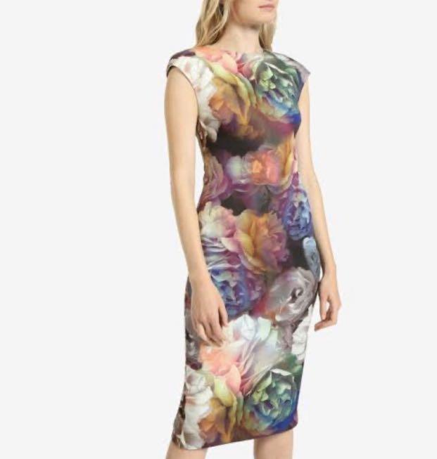 Ted Baker Technicolor Bloom Bodycon Dress size 3 AUD 10-12