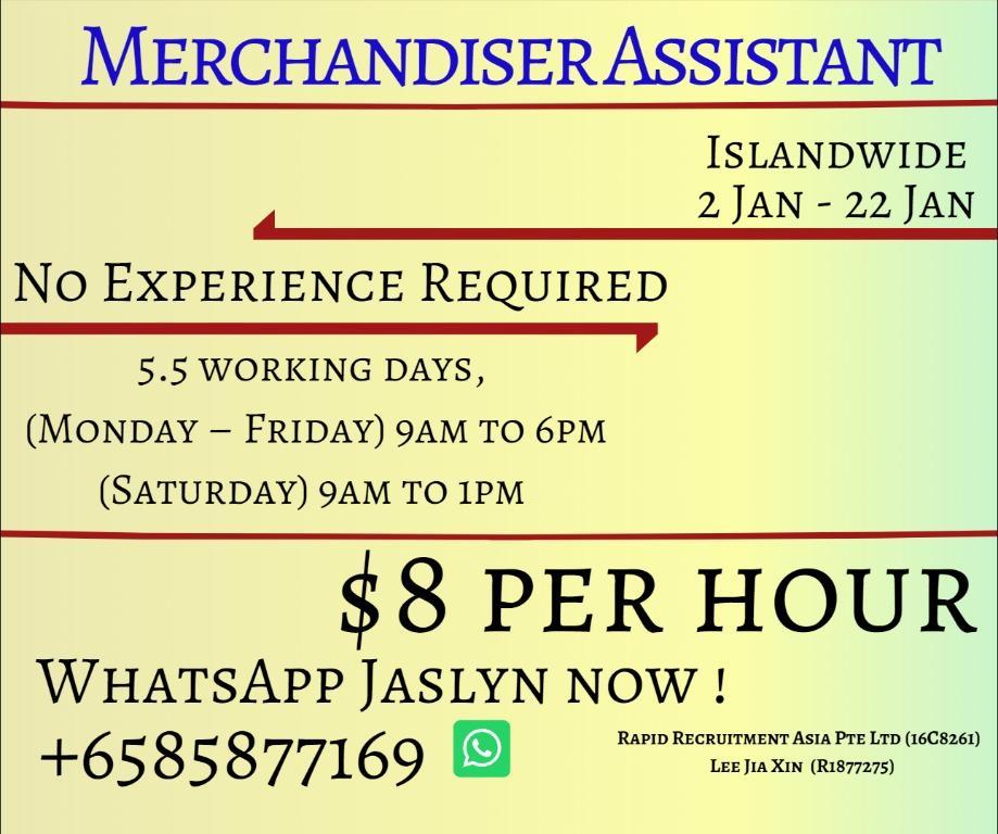 Temp Merchandiser Assistant (Till 22 Jan only!) RRJL