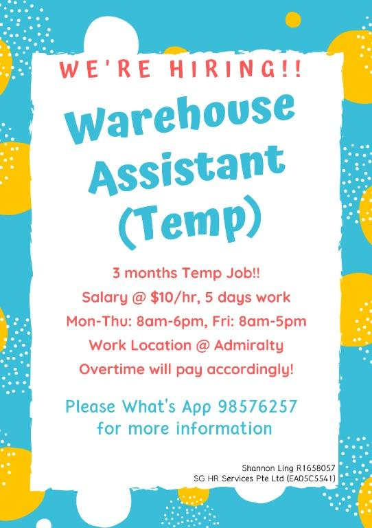 Warehouse Assistant (Temp) @ Admiralty