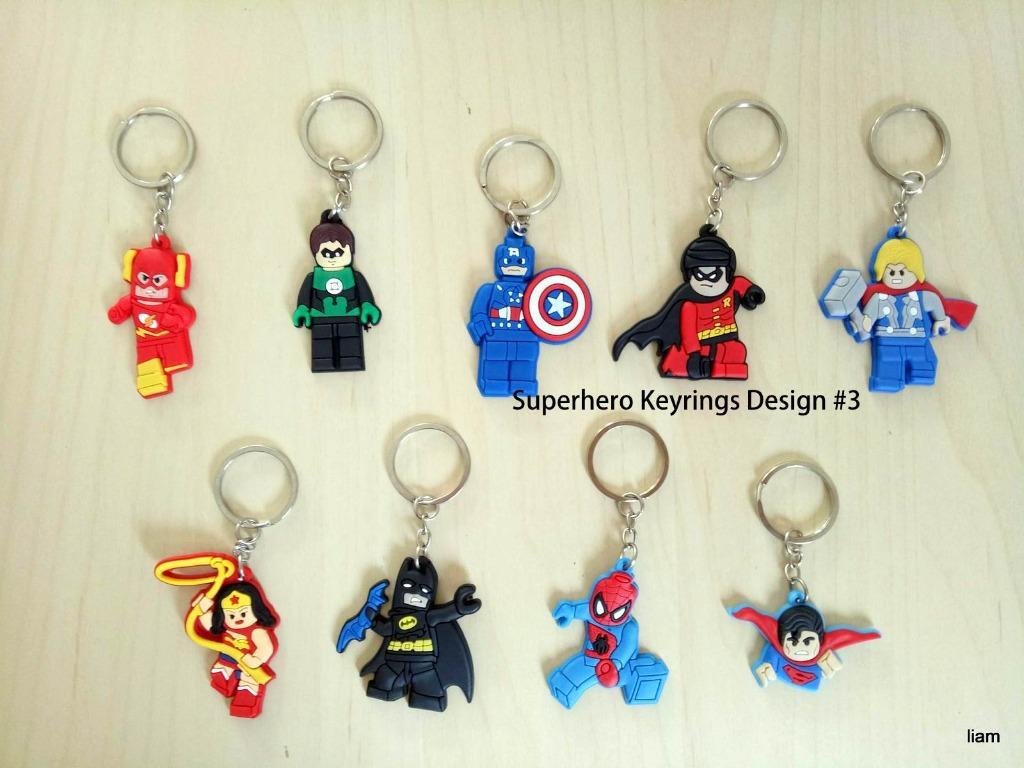 10 pcs Avengers Superhero Design key rings Keyring school bag tag birthday party favors