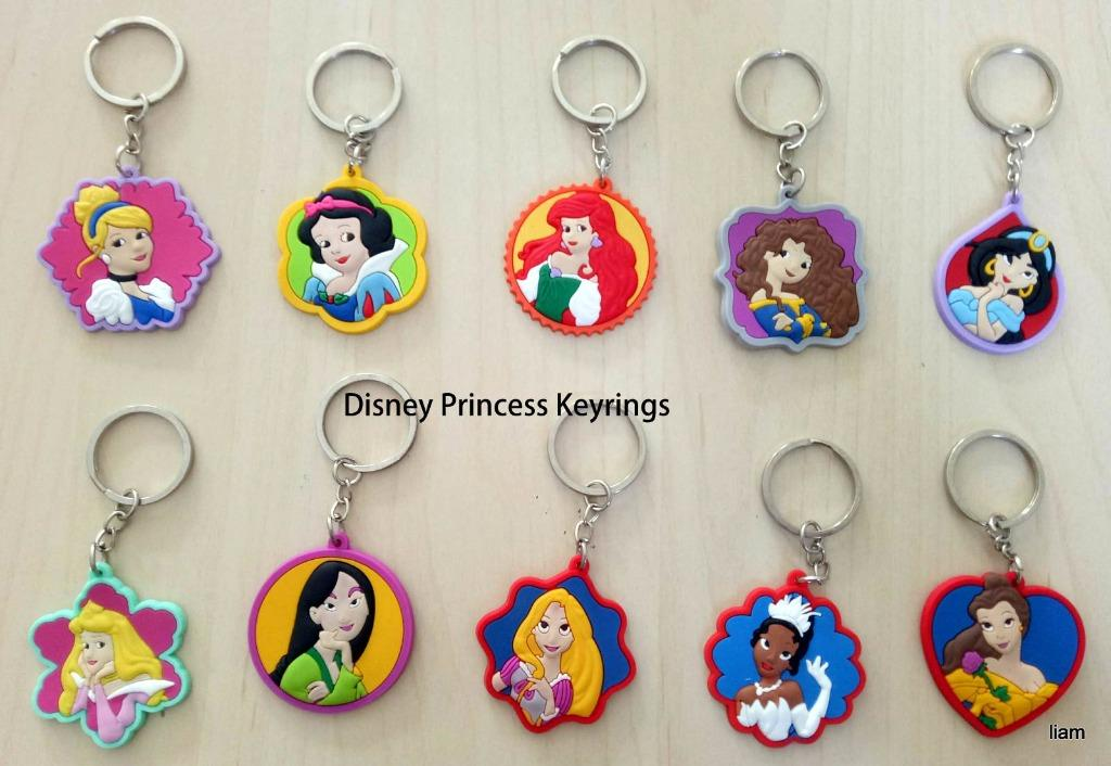 10 pcs Disney Princess key rings Keyring school bag tag birthday party favors