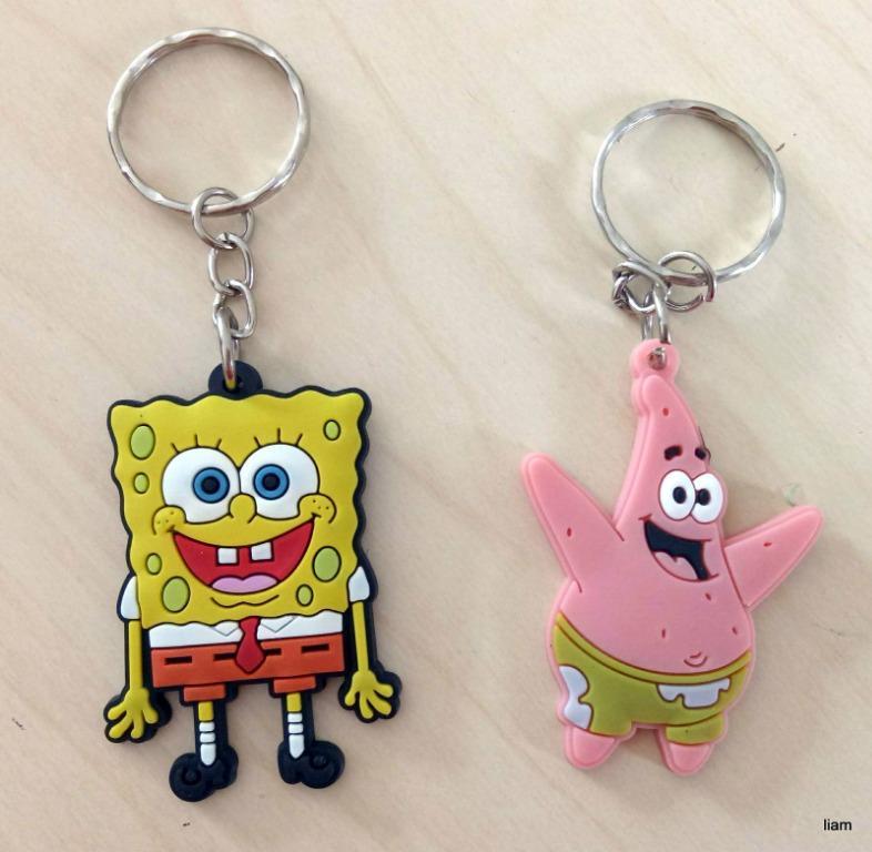 10 pcs Spongebob Squarepants key rings Keyring school bag tag birthday party favors