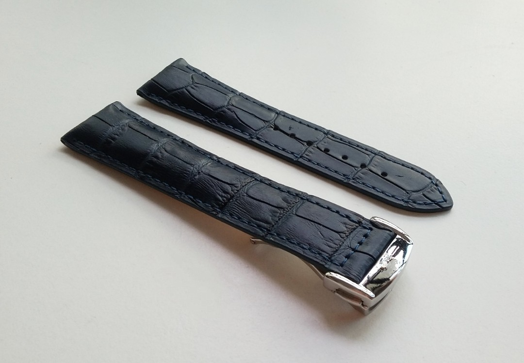 20mm & 22mm NAVY COLOUR GENUINE CALF LEATHER STRAP WITH STAINLESS STEEL DEPLOYMENT CLASP FOR OMEGA SPEEDMASTER & SEAMASTER (PRICE INCLUDES FITMENT)