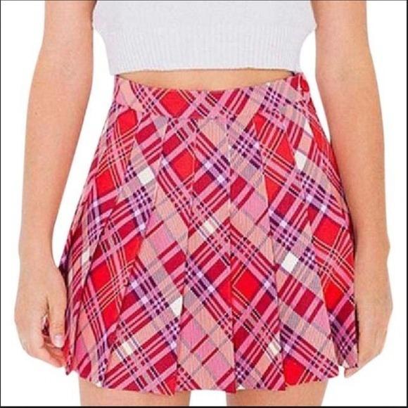 American Apparel, plaid tennis skirt, pink AU6, XS