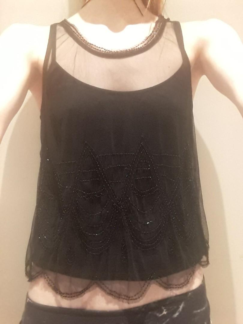 American Eagle small black beaded chiffon sheer tank strappy top vintage art nouveau  style