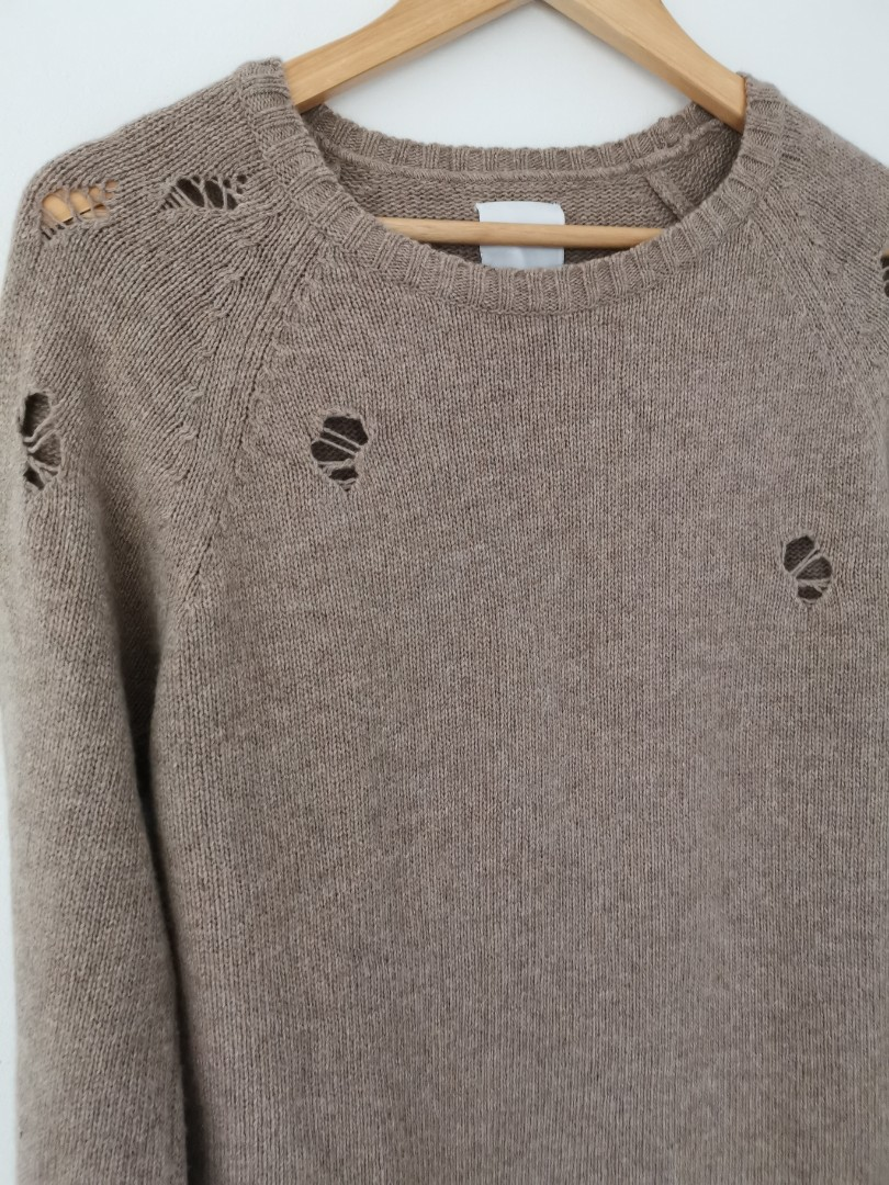 Anine Bing Wool Blend Distressed Sweater in Taupe - Size XS RRP $430