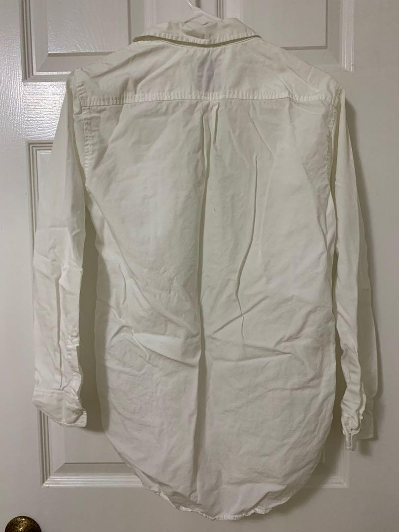 Aritzia talula boyfriend fit white button up shirt xs