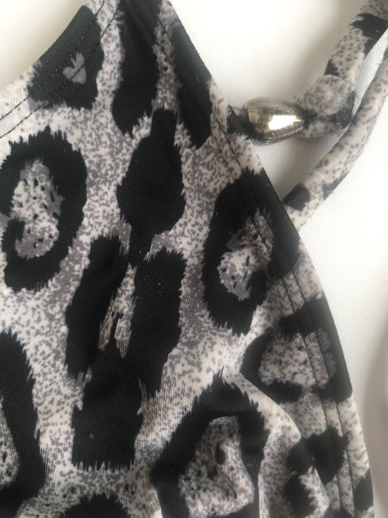 BNWT bikini size 8-10 draw string grey black animal print