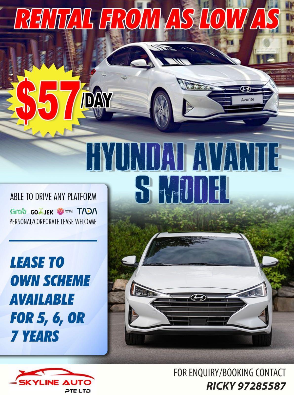 Brand New Hyundai Avante S MODEL 1.6A For Rent