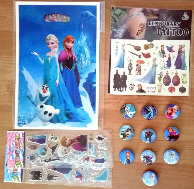Disney Frozen Birthday Party Supplies Favour Lolly Bags Pins Sticker Tattoo