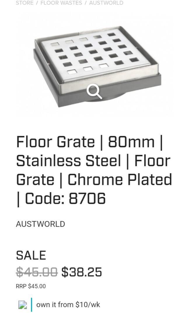 Floor Grate   80mm   Stainless Steel   Floor Grate   Chrome Plated