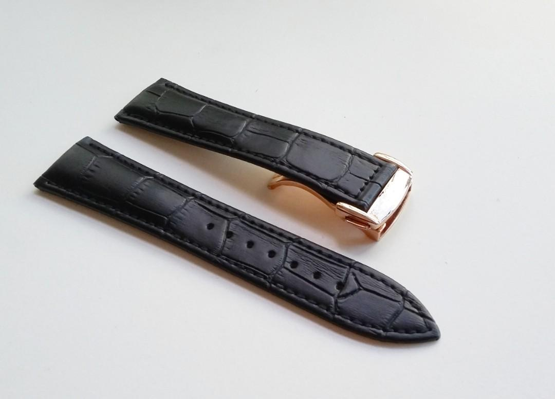 20mm & 22mm BLACK LEATHER STRAP WITH STAINLESS STEEL DEPLOYMENT CLASP FOR OMEGA SPEEDMASTER & SEAMASTER (PRICE INCLUDES FITMENT)
