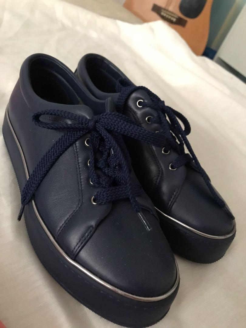 Max Mara - Sold Out Leather Navy Sneakers RRP $200+