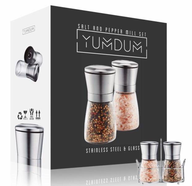 Premium Stainless Steel Salt and Pepper Grinders with Matching Stand