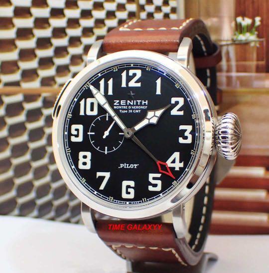 Preowned  ZENITHPilot Montre D'Aeronef Type 20 GMT Men's Watch. Model: 03.2430.693/21.C723 Swiss made.