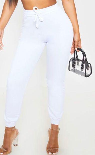 Pretty Little Thing | White Ultimate Joggers