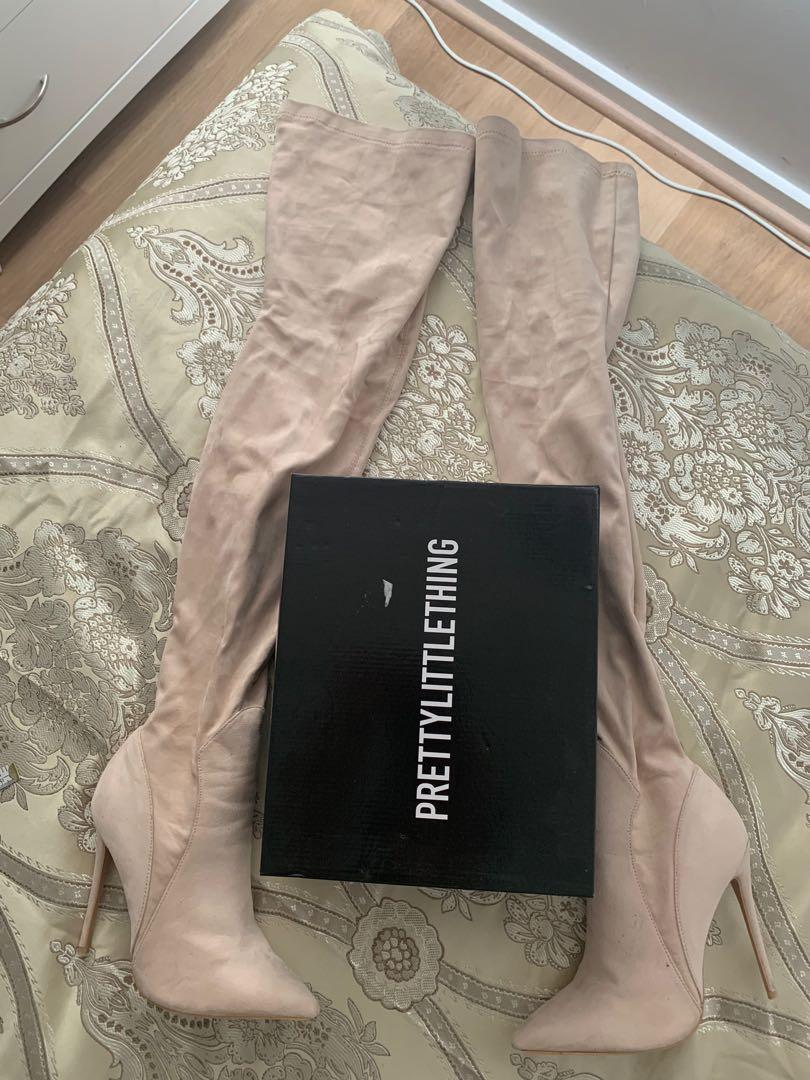 Pretty Little Thing Emmi Stone Faux Suede  Extreme Thigh High Heeled boots size 9 DISCONTINUED