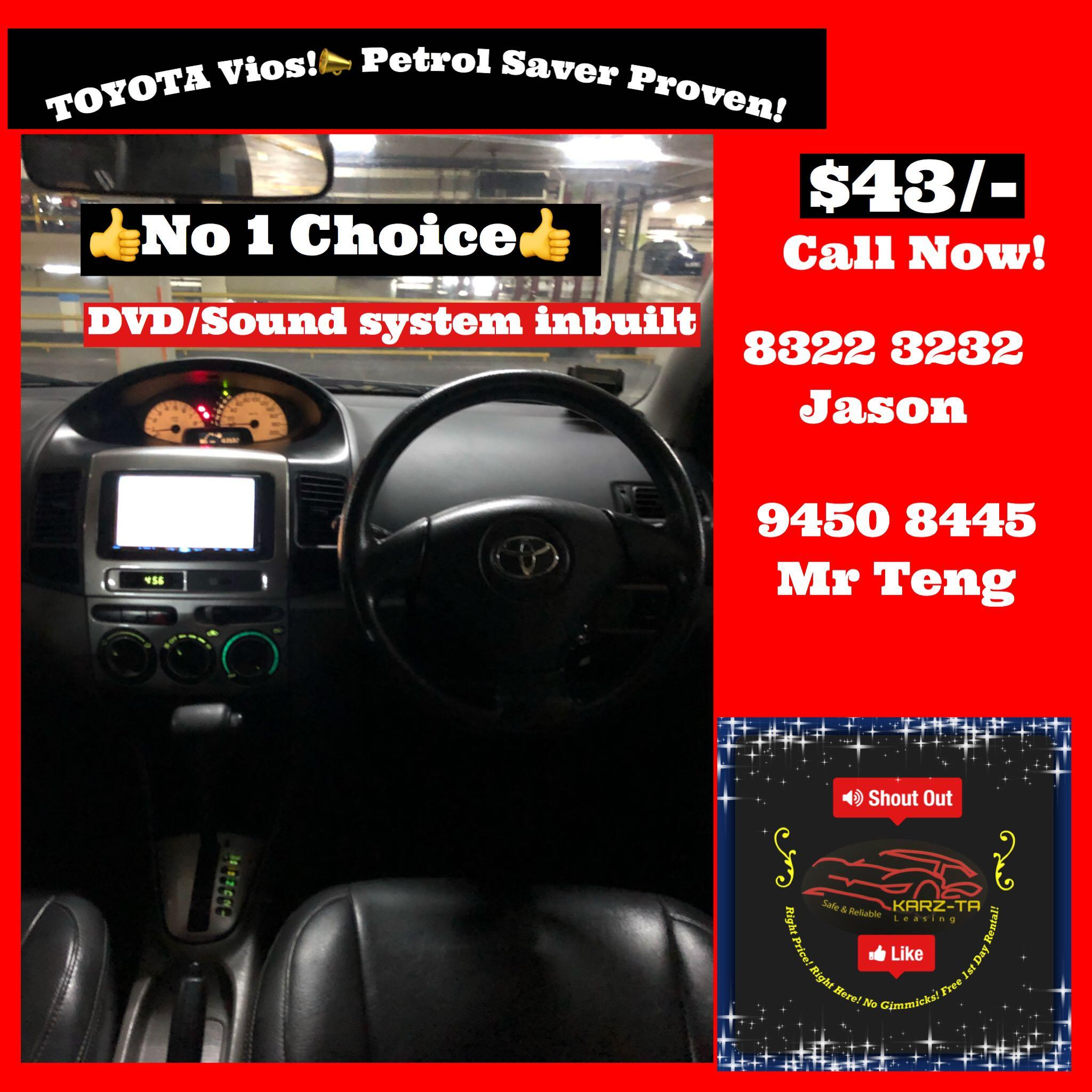 Promo Now! Range From $43! House of Toyota! Lowest Price! Can Drive Go-Jek/Grab/Ryde! Flexible Rental Scheme! Personal User! Call Now!