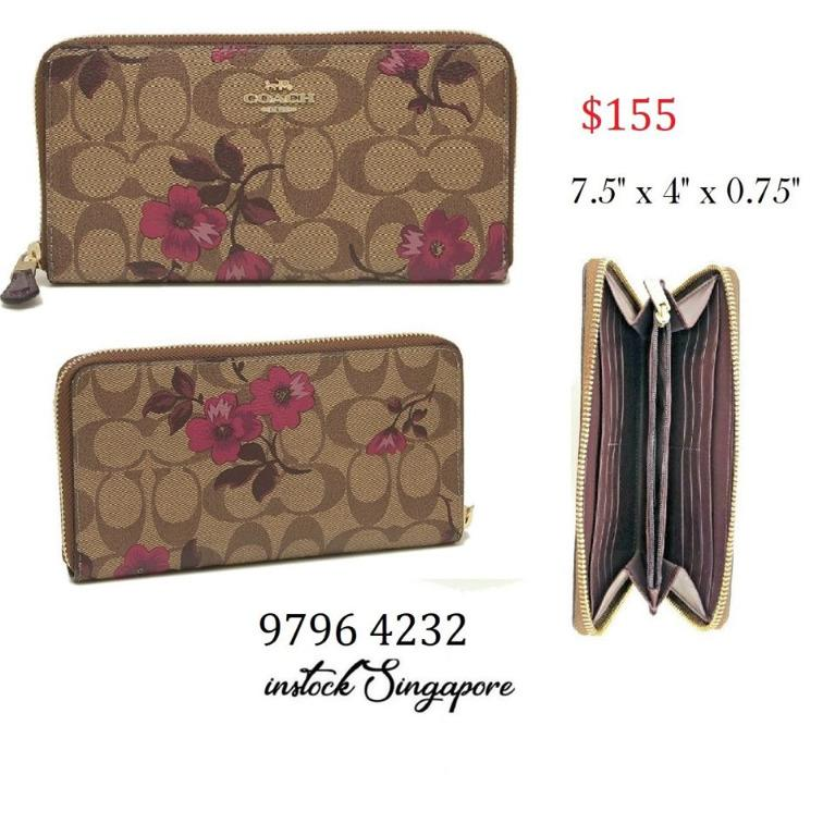 READY STOCK - AUTHENTIC - NEW COACH ACCORDION ZIP WALLET IN SIGNATURE CANVAS WITH VICTORIAN FLORAL PRINT (COACH F87716)