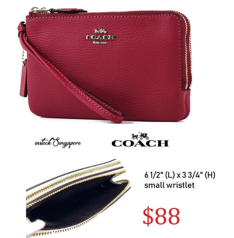 READY STOCK - AUTHENTIC - NEW Coach Double Corner Zip Wallet In Polished Pebble Leather F87590