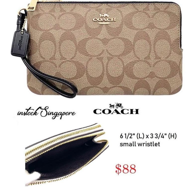 READY STOCK - AUTHENTIC - NEW Coach DOUBLE CORNER ZIP WRISTLET IN SIGNATURE CANVAS (COACH F87591)