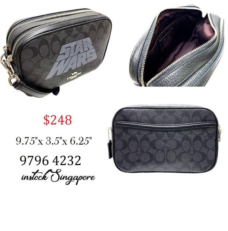 READY STOCK - AUTHENTIC - NEW COACH STAR WARS X COACH JES CROSS BODY IN SIGNATURE CANVAS WITH C-3PO AND R2-D2 F88008