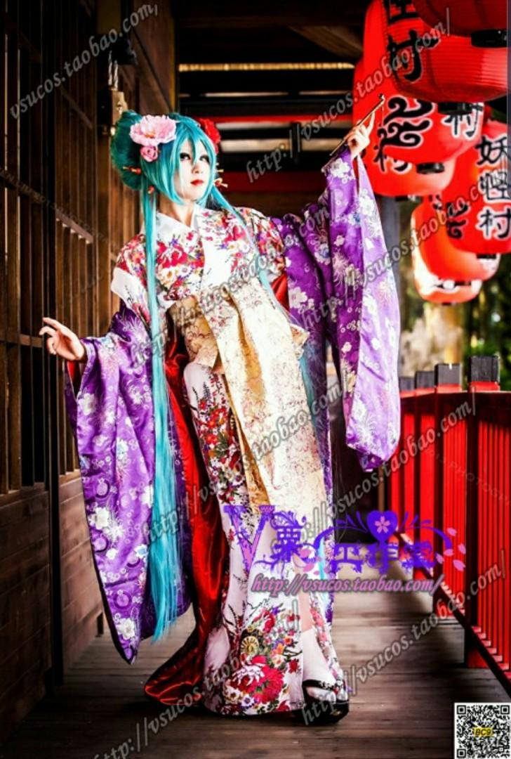 RENT/SALE Vocaloid Miku Ame Yume Rou 雨夢楼 Geisha Cosplay Costume