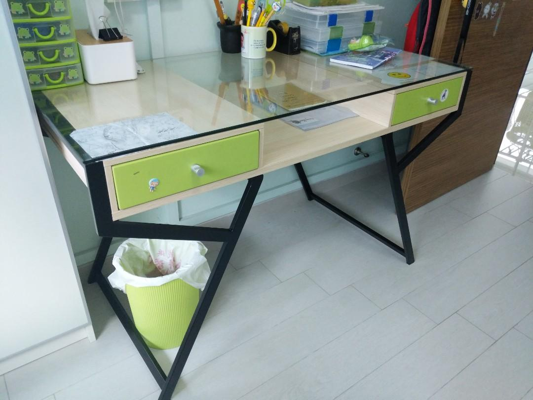 Stylish Glass Top Study Desk Table 2 Drawers Not Ikea Furniture Tables Chairs On Carousell